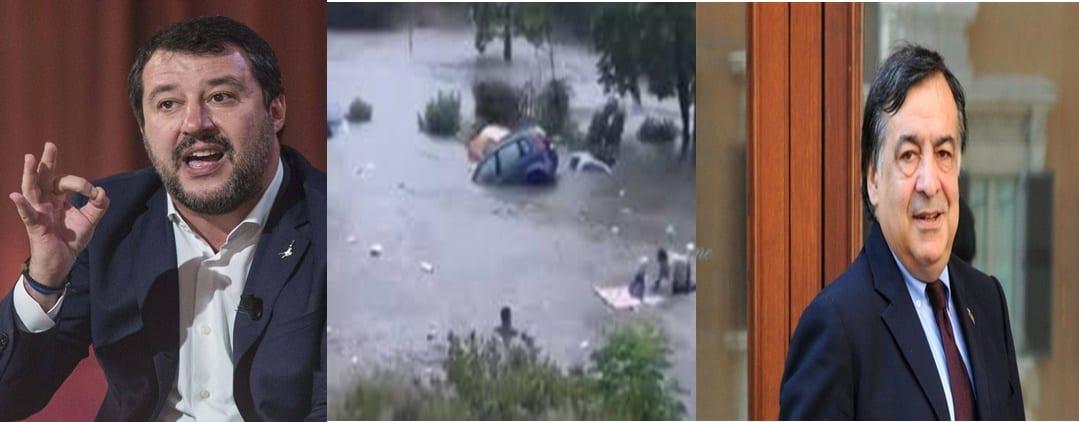 SALVINI APRE UNO SCONTRO A furia di pensare solo agli immigrati, il sindaco Orlando dimentica i cittadini di #Palermo: basta un temporale e la città finisce sott'acqua.